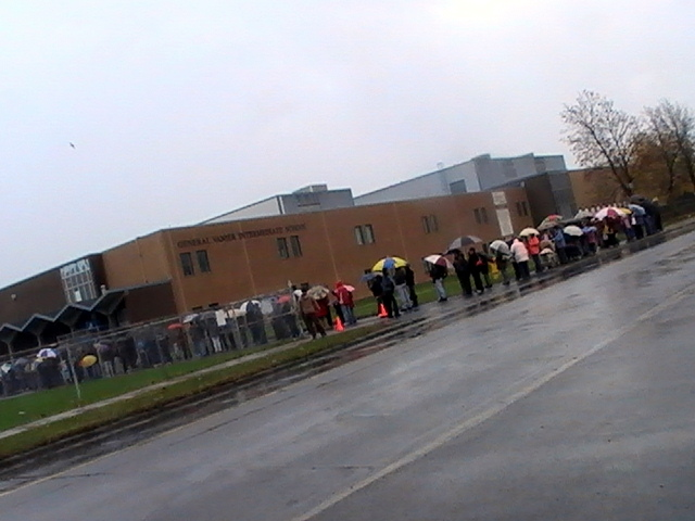 Hundreds Brave Lines for Flu Shot in the Rain – Saturday October 31, 2009 – Cornwall Ontario