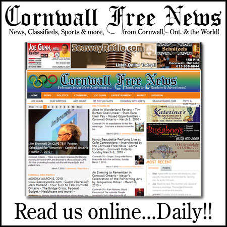 The Cornwall Free News Video Channel on You Tube – Cornwall Ontario – May 30, 2010