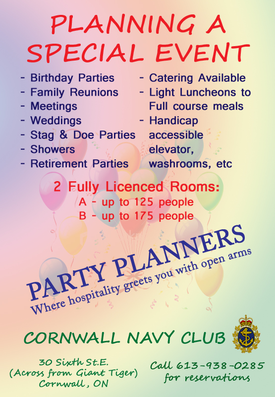 The Cornwall Ontario Navy Club – Party Planning & Meeting Space – 30 6th Street East – 613 938 0285