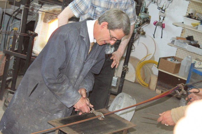 MPP Grant Crack at Glass Ribbon Cutting at The Glass Blowing Place & Chillax Café in Alexandria by Reg Coffey