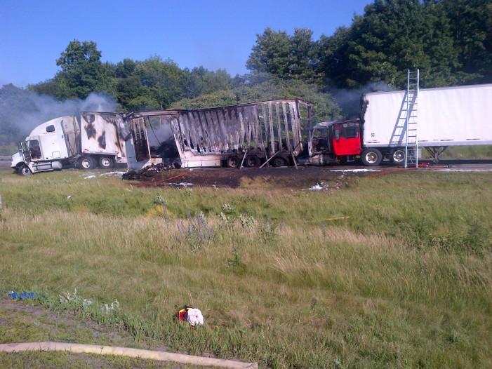 Tractor Trailer Crash Near Ganonoque Ontario – Friday June 29, 2012