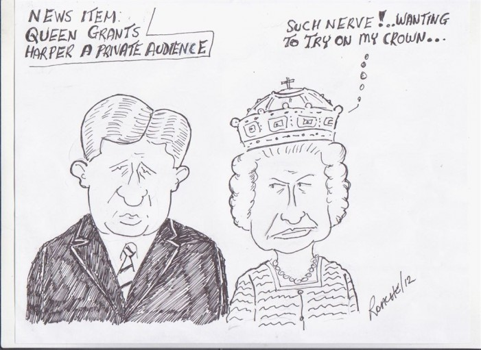 Political Times by Mike Roache – Stephen Harper Queen Elizabeth II Jubilee – June 6, 2012