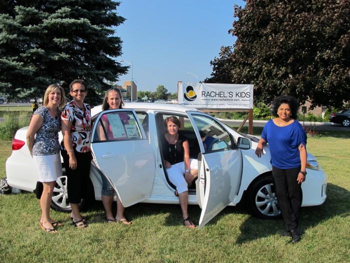 Elaine Etherington & Amy McCosham Lucky Winners in Rachel's Kids Draw for 2012 Toyota Corolla in Cornwall Ontario!