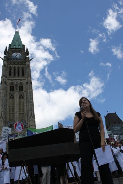 Karin Walkey Interviews Katie Gibbs at Death of Evidence Anti-Harper Government Rally on Parliament Hill