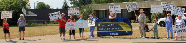 Eastern Ontario Health Unit Protested by Language Fairness Group in Cornwall Ontario – Get on board the Train by Don Smith