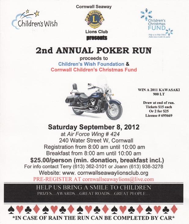 Poker Run to Benefit Children's Charities in Cornwall, Ontario