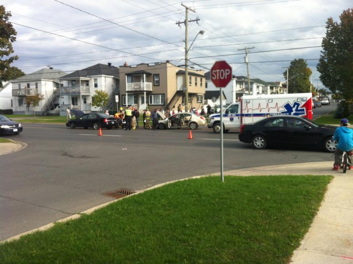 Another Car Crash at Second East & Belmont in Cornwall Ontario – Friday September 28, 2012
