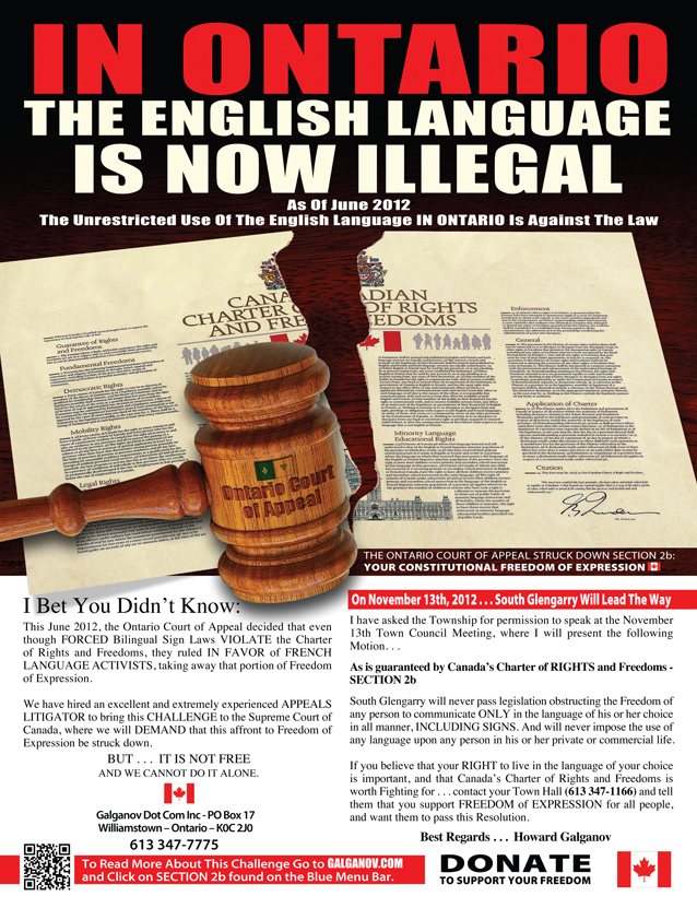 Stand up for your language rights! Howard Galganov to Appear Before South Glengarry Council November 13, 2012