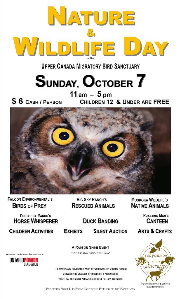 Nature & Wildlife Day at Upper Canada Migratory Bird Sanctuary Sunday October 7, 2012