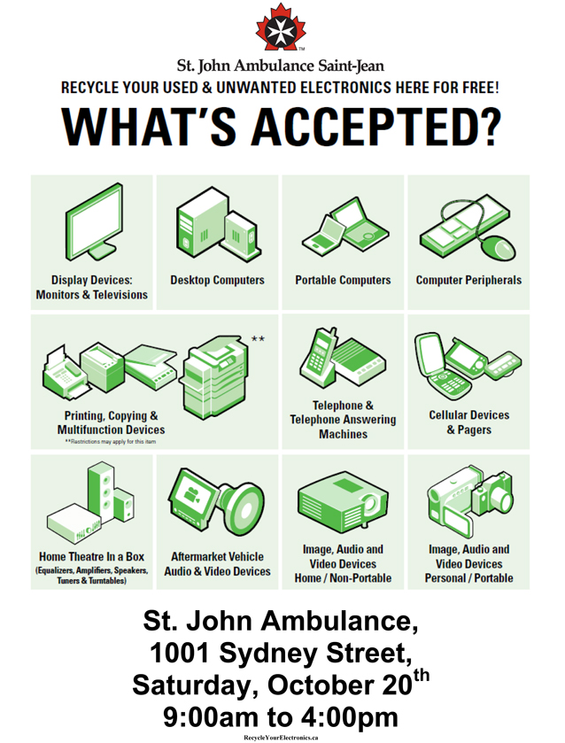 Clear out your old electronics and help a good cause – Saturday October 20th Saint John Ambulance Cornwall Ontario