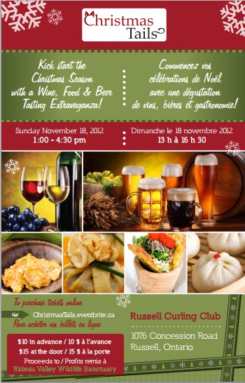 Christmas Tails – Wine & Food Tasting –  Sunday November 18, 2012 – Russell Ontario