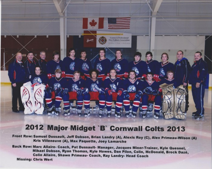 Cornwall Colts Major Midget B Fund Raiser – Benson Centre Sunday 9th at 7 PM in Cornwall Ontario