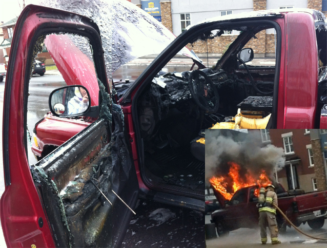 Driver & Passenger Narrowly Escape Truck Blaze by Don Smith – December 19, 2012