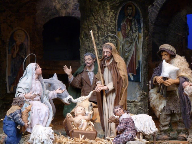The Holy Family is set inside a grotto decorated with Byzantine frescoes. (CNS/Carol Glatz)