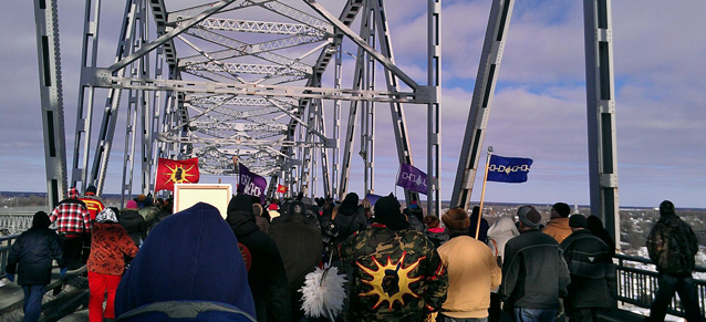 Protesters crossing the Seaway International Bridge at CornwallPhoto courtesy Teneya Mitchell