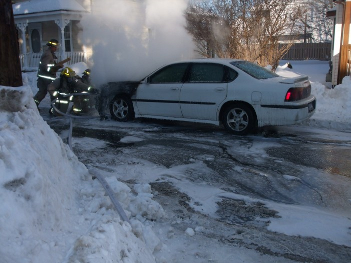 Car Fire Strikes on Prince Arthur Street in Cornwall Ontario – January 5, 2013