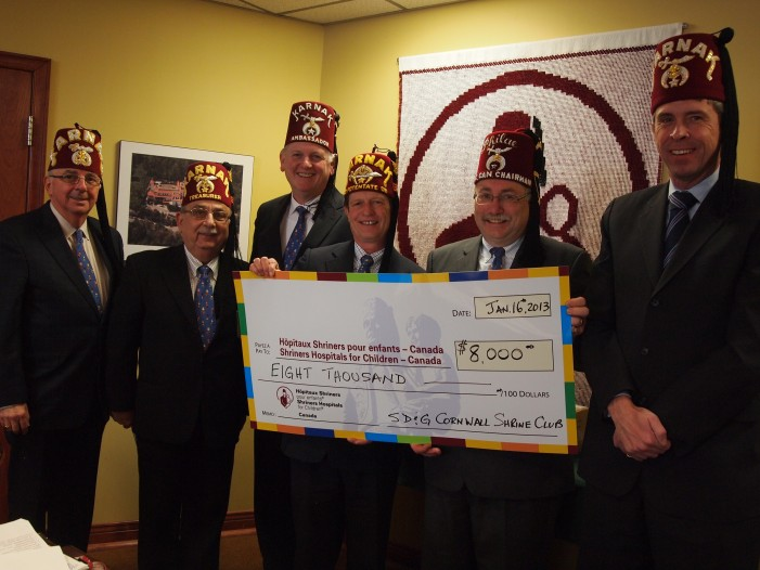 SD&G Shriners Raise $8,000 For Sick Kids Hospital Love Boat Cruise Draw!  February 18, 2013