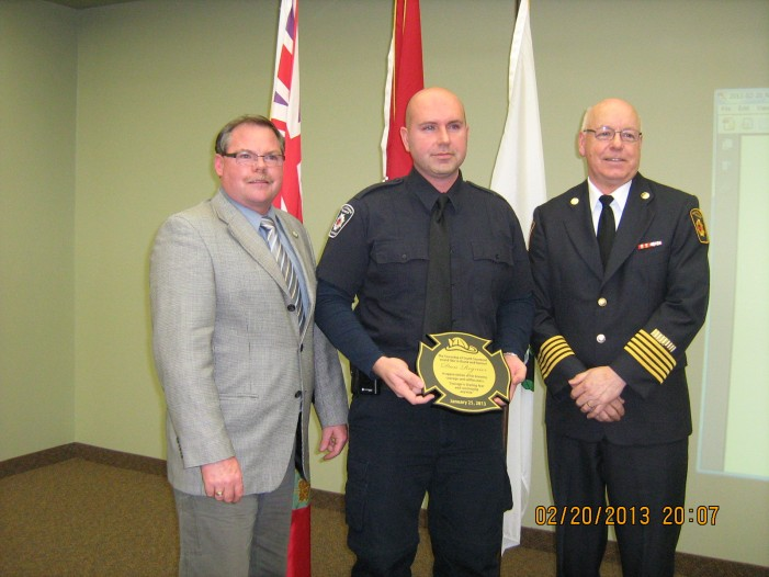 Fireman Dan Regnier Honored for Saving Father & Children from Burning Car in South Stormont Ontario