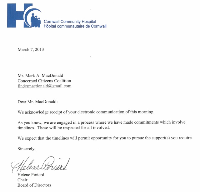 Hope – CCH Letter & 2:30 City Hall Press Conference Results in Cornwall Ontario – March 8, 2013
