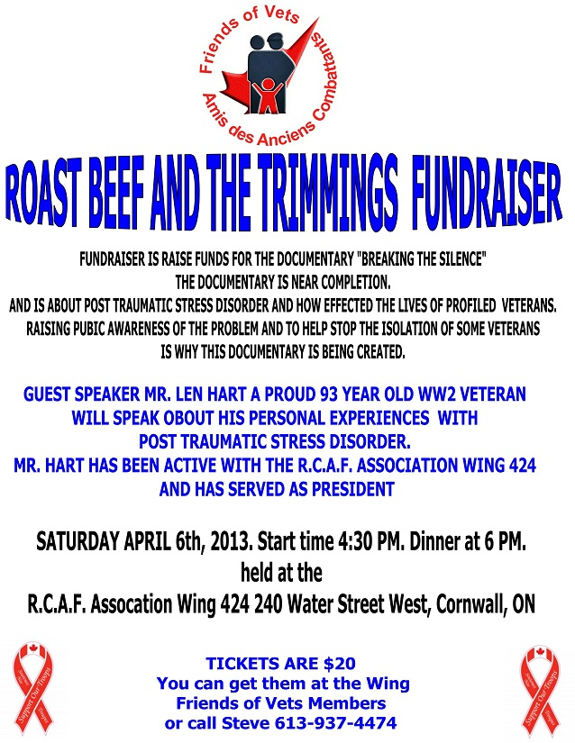 Friends of Vets Fund Raiser Roast Beef Dinner – Saturday April 6, 2013 RCAF Wing Cornwall Ontario CLICK FOR DETAILS