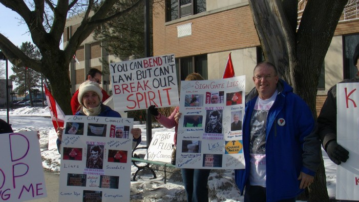 Protesters Hit City Hall in Cornwall Ontario Over Councilor Syd Gardiner's Attempt to Destroy Signs – March 18, 2013