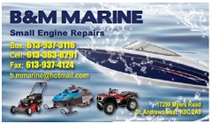 Mike Evans & Bryan McGillis Invite you to Bring your Boat or Small Engine to B&M Marine in Bonville Ontario SPECIAL OFFER