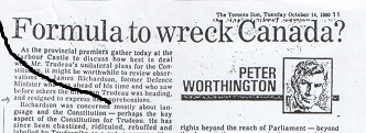Ruth Barrie LTE on Peter Worthington  Formula To Wreck Canada Editorial – May 29, 2013