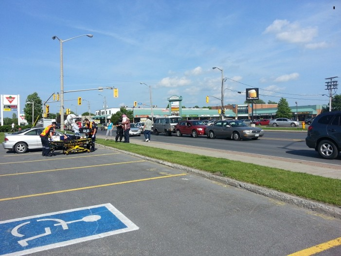 Three Car Sandwich on 9th Street in Cornwall Ontario – May 30, 2013