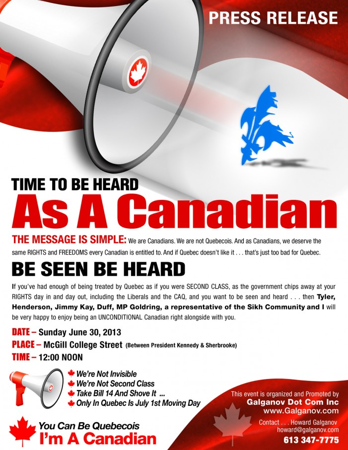 Rally at McGill College in Montreal on Sunday June 30, 2013 Over Language Rights & Bill 14