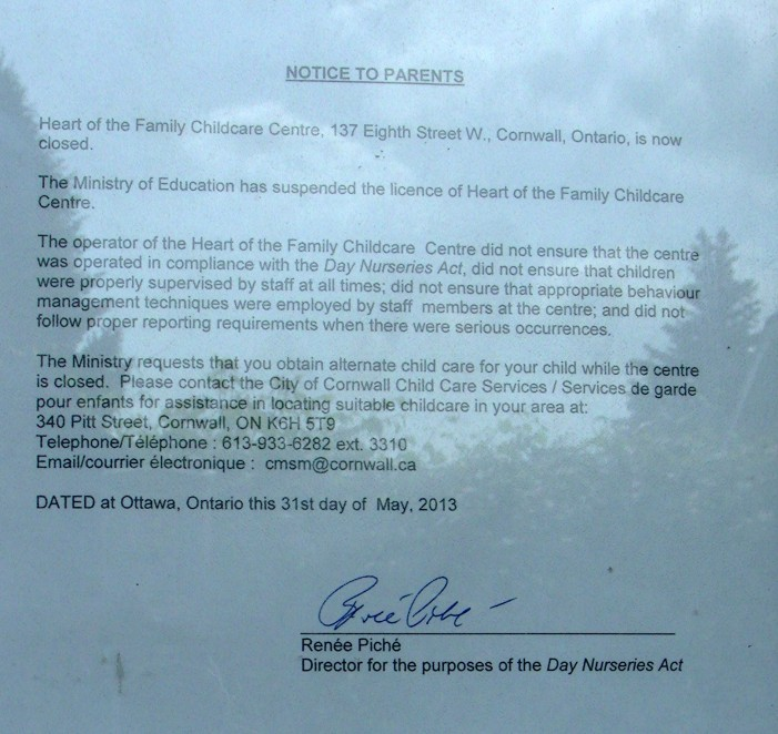 Heart of the Family 150 Licensed Day Care Shut Down by Ministry in Cornwall Ontario – June 1, 2013