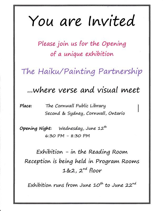 Cornwall Public Library Holds Haiku/Painting Partnership Exhibition June 10-22, 2013