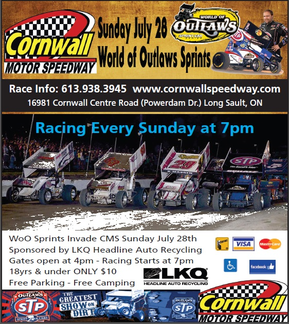 World of Outlaw Sprints at Cornwall Motor Speedway!  Sunday July 28, 2013 GATES OPEN AT 4 PM!  CLICK FOR DETAILS