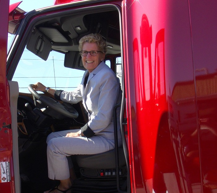 Ontario Premier Kathleen Wynne Drives Her Big Red Truck in Cornwall Ontario – August 12, 2013