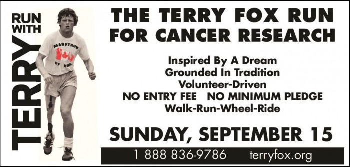 Cornwall Ontario Terry Fox Run – Sunday September 15, 2013 –  Civic Complex 7:30 AM