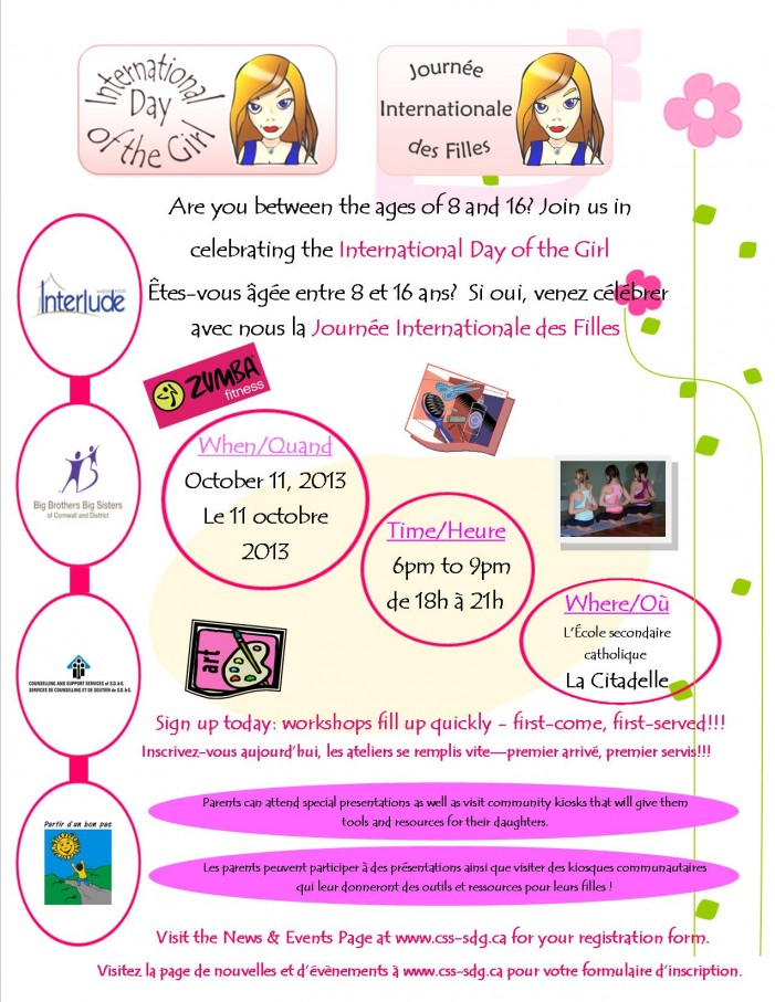 La Citadelle in Cornwall Ontario Hosts 2013 International Day of the Girl Event – October 11
