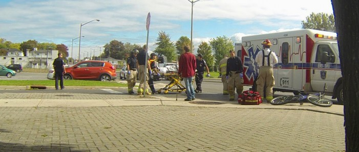 17 Year Old Bicyclist Struck Down by Taxi in Cornwall Ontario by Nathanael Newton VIDEO – Sept 27, 2013