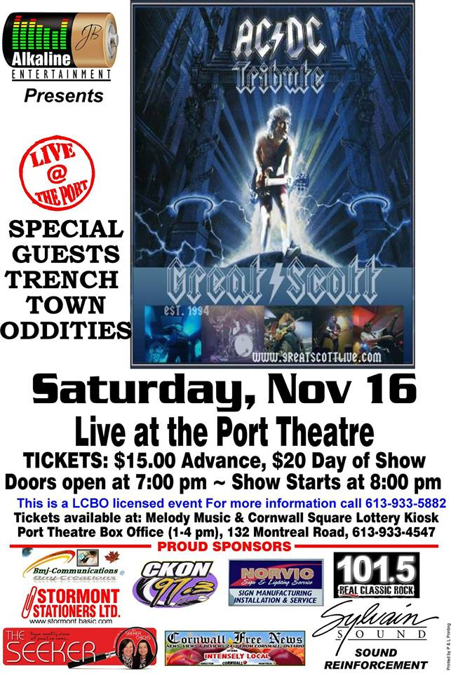 Dirty Deeds Done Dirt Cheap in Cornwall Ontario as Great Scott AC DC Tribute Hits The Port NOV 16 2013 CLICK FOR DETAILS!