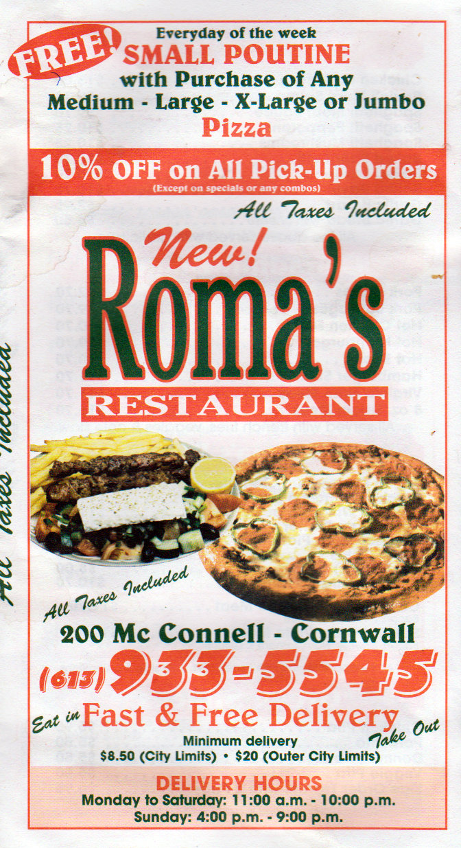 Roma's Restaurant Online Menu in Cornwall Ontario – 200 McConnell – Dial 613 933 5545 For Fast Free Delivery!