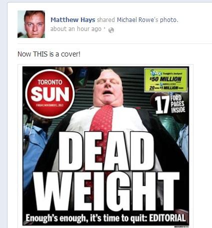 Did Gay Writer, Educator @ Activist Matthew Hays Target Toronto Mayor Rob Ford Over His Weight?