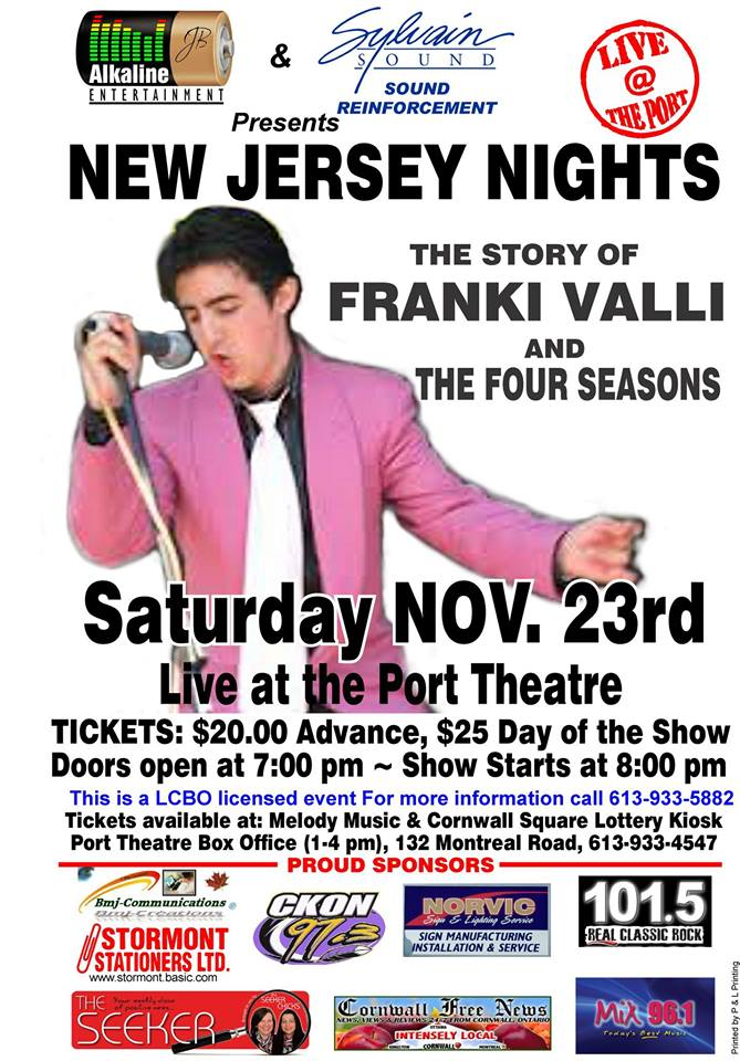 Franki Valli & The Four Seasons Tribute @ The Port in Cornwall Ontario! NOV 23  CLICK FOR DETAILS