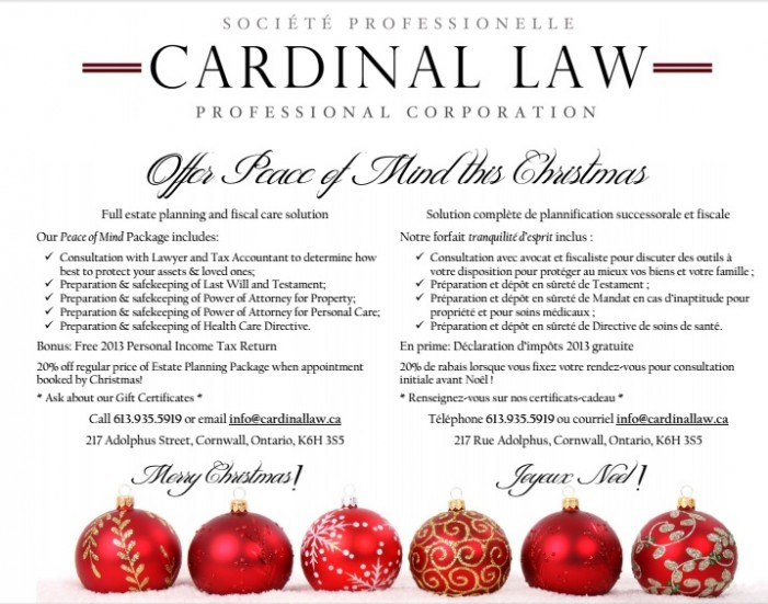 Merry Christmas from Cardinal Law in Cornwall Ontario – Announcment & Seasonal Offer!