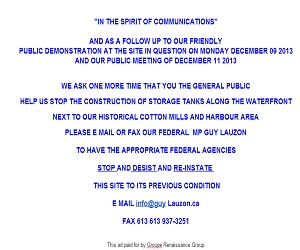 Groupe Renaissance Group PUBLIC APPEAL re Chemical Tanks on Cornwall Ontario Harbour  POLL PETITION