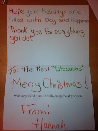 SD&G Paramedics Grateful for Christmas card from Hannah in Cornwall Ontario – Dec 29, 2013