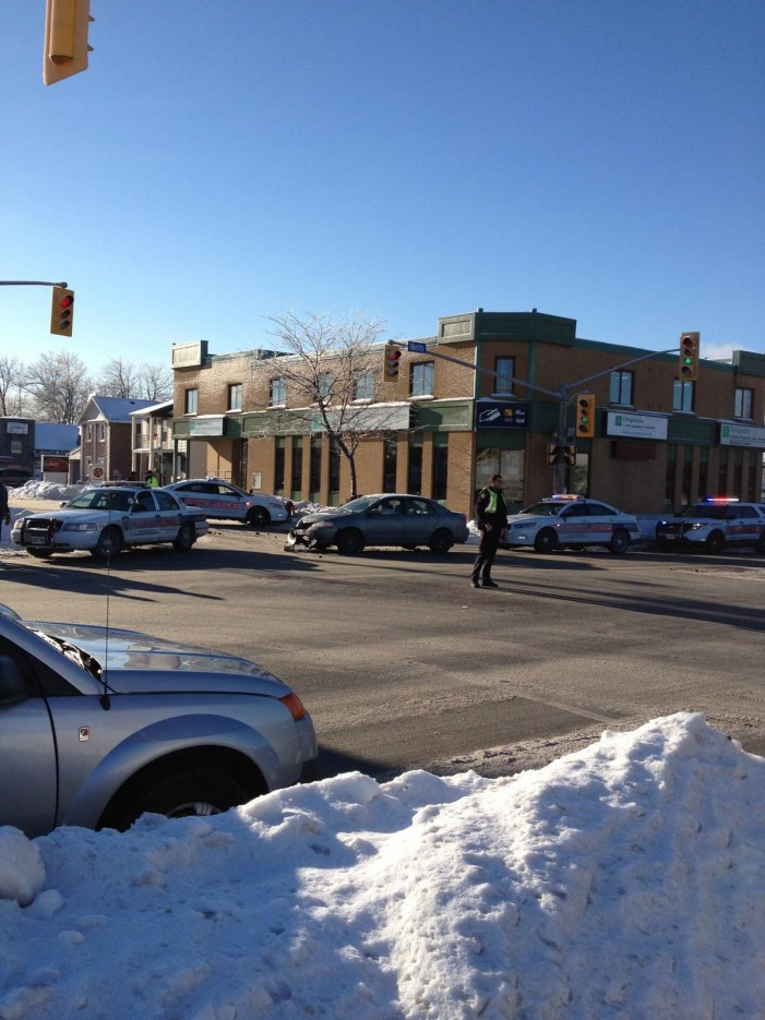 Two Car Collision on Pitt & 9th in Cornwall Ontario – Down the Road, but nowhere near Freshco's!  Dec 24, 2013