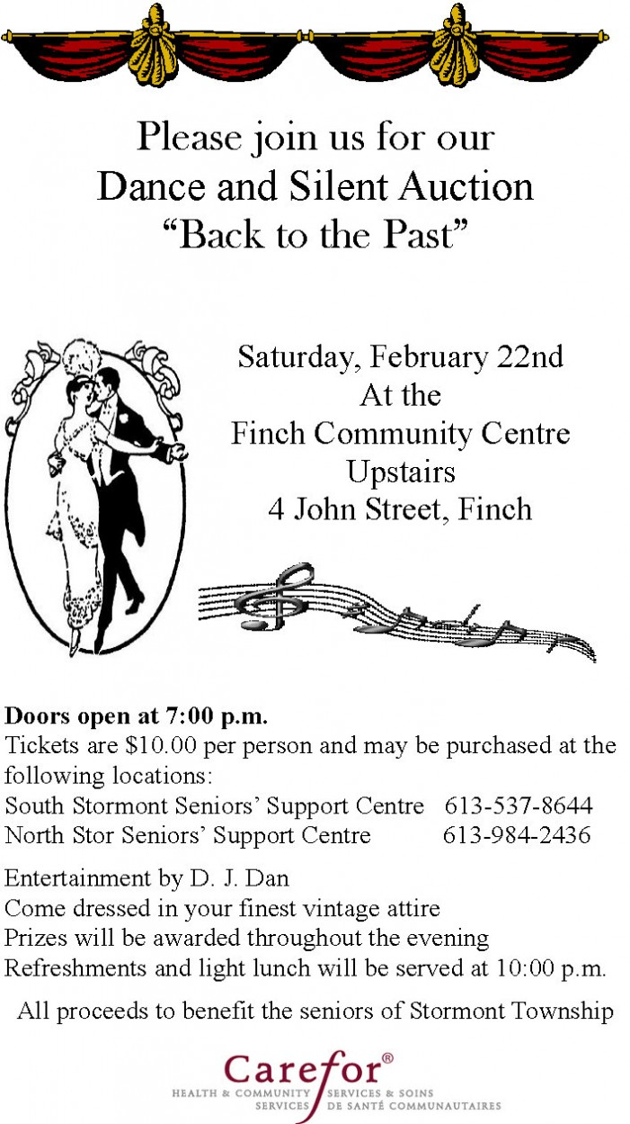 Back to the Past Dance & Silent Auction – Saturday Feb 22, 2014 FINCH COMMUNITY CENTRE