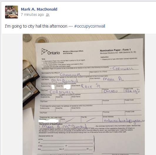 Mark A MacDonald Announces on Facebook That He's Running for Council in Cornwall Ontario – March 3, 2014