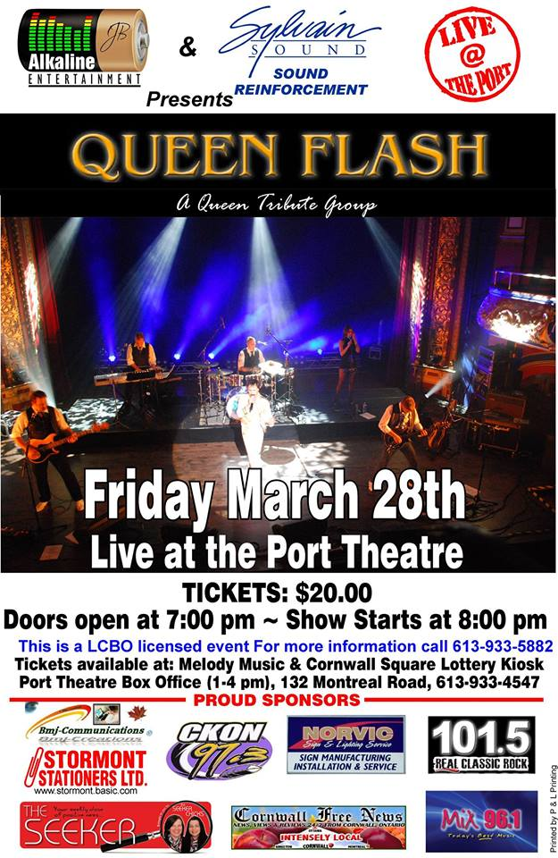 Queen Flash Tribute Band LIVE at the Port Theatre in Cornwall Ontario – Friday March 28, 2014 CLICK FOR DETAILS!