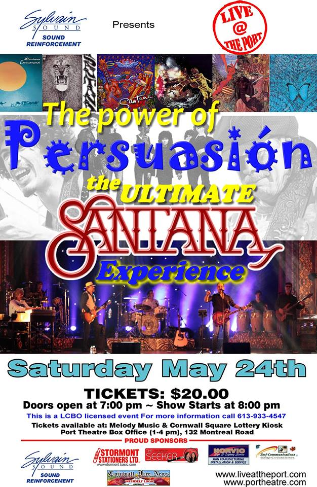 CFN is Proud to Sponsor Alkaline Entertainment & Sylvain Sounds Ultimate Santana Experience at The Port Theatre in Cornwall CLICK!