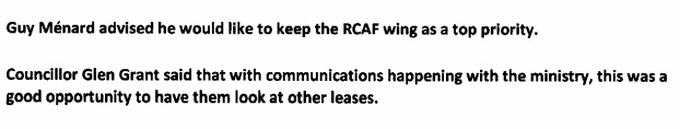 Kilger Council In Talks to Take Over RCAF Wing Lease In Cornwall Ontario Too?