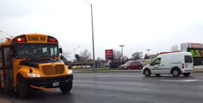 City Resident Nabs City of Cornwall By Law Truck Zooming By School Bus With Lights On